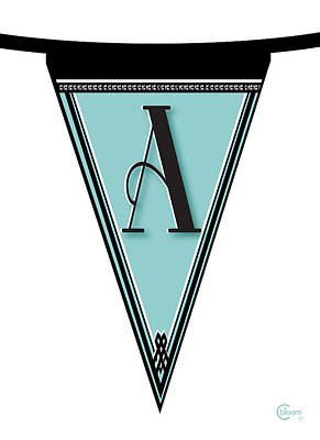 Roaring Twenties Mixed Media - Pennant Deco Blues Banner Initial Letter A by Cecely Bloom