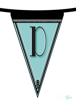 Roaring Twenties Mixed Media - Pennant Deco Blues Banner Initial Letter D by Cecely Bloom