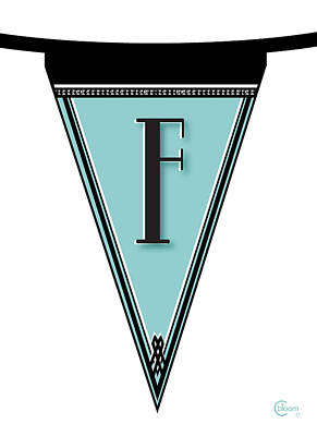 Streamer Painting - Pennant Deco Blues Banner Initial Letter F by Cecely Bloom