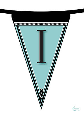 Pennant Deco Blues Banner Initial Letter I Art Print by Cecely Bloom