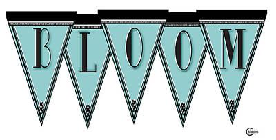 Roaring Twenties Mixed Media - Pennant Deco Blues Message Bloom by Cecely Bloom