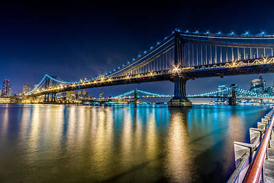 Manhattan And Brooklyn Bridges At Night. Art Print
