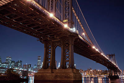 Photograph - Manhattan And Brooklyn Bridges by Johnny Sandaire