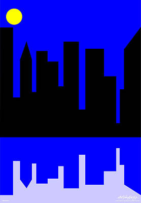 Lonvig Digital Art - Manhattan by Asbjorn Lonvig