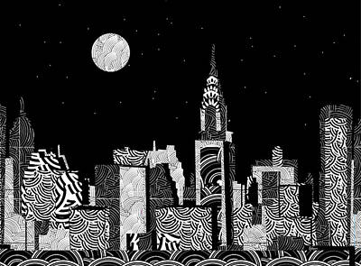 Empire State Building Mixed Media - Manhattan At Night New York Swings by Cecely Bloom