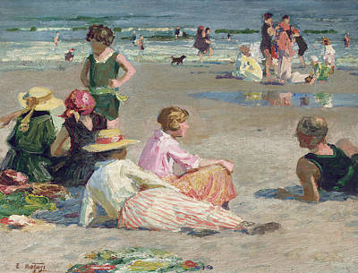 People On Beach Wall Art - Painting - Manhattan Beach  by Edward Henry Potthast