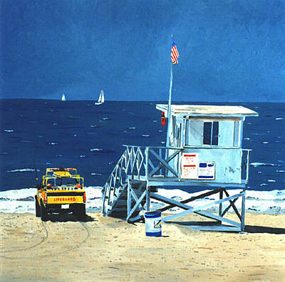 Painting - Manhattan Beach Lifeguard Station by Lance Headlee