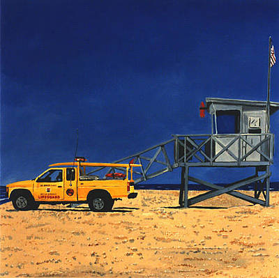 Painting - Manhattan Beach Lifeguard Station Side by Lance Headlee