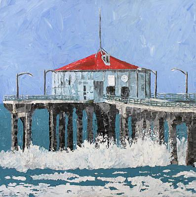Redondo Beach Pier Wall Art - Painting - Manhattan Beach Pier by Lance Headlee