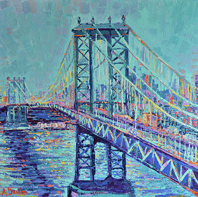 Built Structure Painting - Manhattan Bridge by Adriana Dziuba