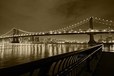 Photograph - Manhattan Bridge And Williamsburg Bridge Sepia by Toby McGuire
