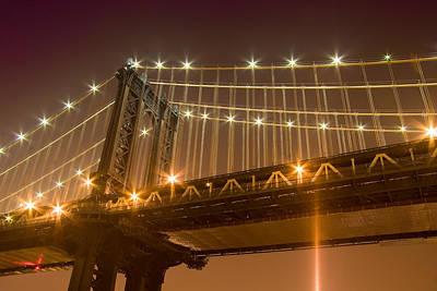 Manhattan Bridge At Night 1 Art Print