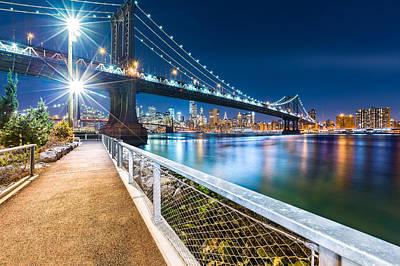 Photograph - Manhattan Bridge By Night by Mihai Andritoiu