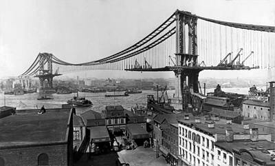 Landmarks Royalty Free Images - Manhattan Bridge Construction - Vintage New York Royalty-Free Image by War Is Hell Store