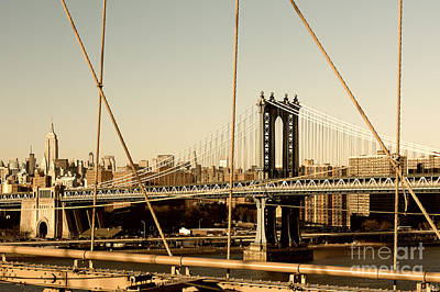 Photograph - Manhattan Bridge From The Brooklyn Bridge  by Alissa Beth Photography