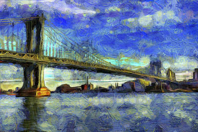Photograph - Manhattan Bridge New York Art by David Pyatt