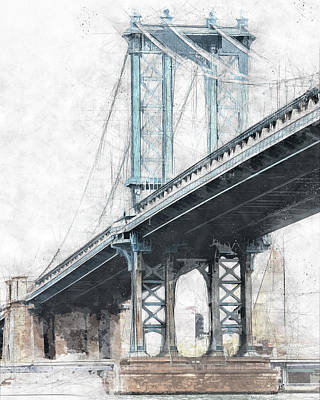 Cityscape.pencil Drawing - Manhattan Bridge Nyc  by Melissa Smith