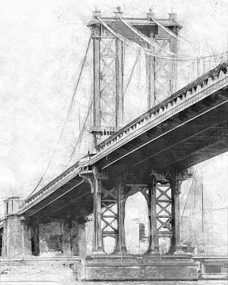Cityscape.pencil Drawing - Manhattan Bridge Nyc Monotone by Melissa Smith