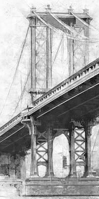 Industrial Drawing - Manhattan Bridge Nyc Tall Bw by Melissa Smith