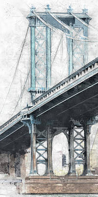 Urban Art Drawing - Manhattan Bridge Nyc Tall by Melissa Smith