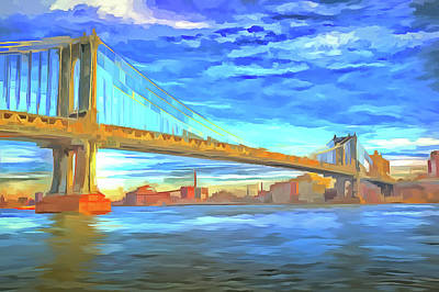 Photograph - Manhattan Bridge Pop Art by David Pyatt