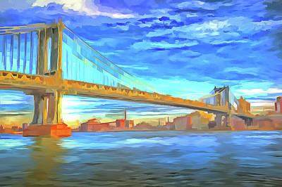 Photograph - Manhattan Bridge Pop Art by David Pyatt
