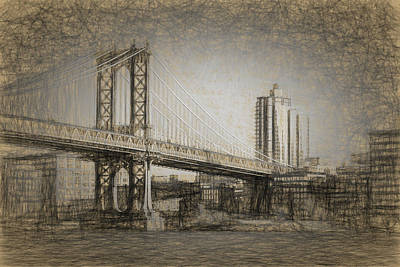 Drawing - Manhattan Bridge by Thomas Logan
