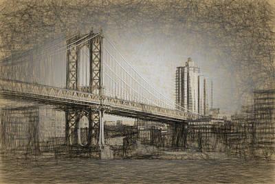 Drawing - Manhattan Bridge by Thomas Logan