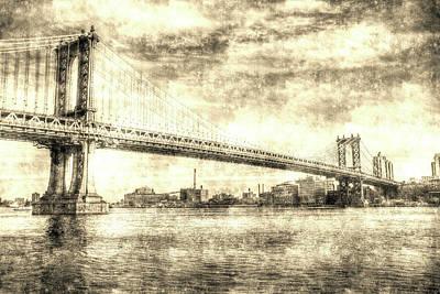 Photograph - Manhattan Bridge Vintage by David Pyatt