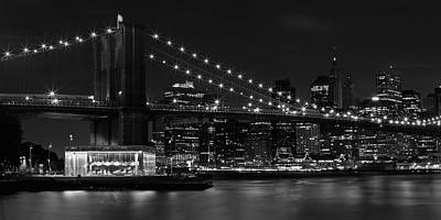 Manhattan At Night B/w Art Print