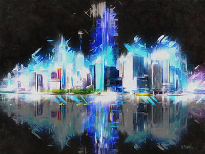 Manhattan Downtown Lights Art Print