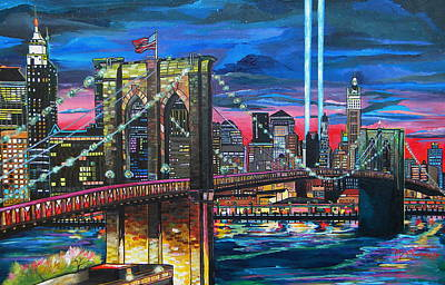 Brooklyn Bridge Painting - Manhattan Kinda Night by Patti Schermerhorn