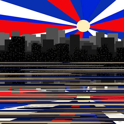 Digital Art - Manhattan Moonrise - Fourth Of July by Val Arie