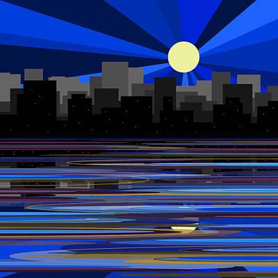 Digital Art - Manhattan Moonrise by Val Arie