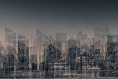 Abstract Skyline Digital Art - Manhattan Moves by Az Jackson