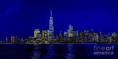 Photograph - Manhattan Nite Skyline by Nick Zelinsky