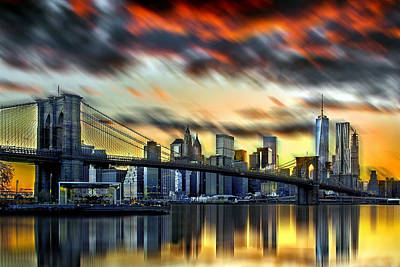 Skylines Royalty-Free and Rights-Managed Images - Manhattan Passion by Az Jackson