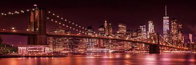 Manhattan Skyline And Brooklyn Bridge Evening Impressions - Panoramic  Art Print