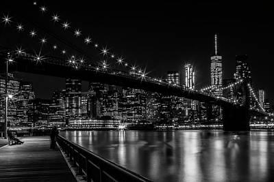 Manhattan Skyline And Brooklyn Bridge Gorgeous Nightscape Art Print