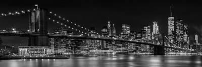 Photograph - Manhattan Skyline And Brooklyn Bridge Nightly Impressions - Panoramic by Melanie Viola