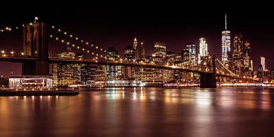 Manhattan Skyline And Brooklyn Bridge Sunset - Panoramic Art Print