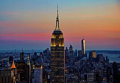 Manhattan Skyline At Dusk Original by Allan Einhorn