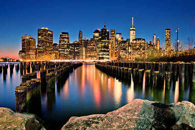City Scenes Royalty-Free and Rights-Managed Images - Manhattan Skyline At Dusk by Az Jackson