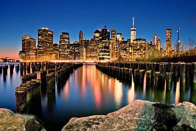 Skylines Royalty Free Images - Manhattan Skyline At Dusk Royalty-Free Image by Az Jackson