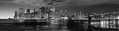 Manhattan Skyline At Dusk From Broklyn Bridge Park In Black And  Art Print