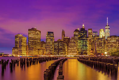 Photograph - Manhattan Skyline At Sunset by Melanie Viola