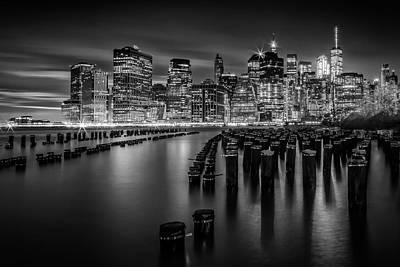 Photograph - Manhattan Skyline At Sunset - Monochrome by Melanie Viola