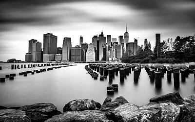 Photograph - Manhattan Skyline Bw by Framing Places