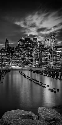 Photograph - Manhattan Skyline Evening Atmosphere In New York City - Monochrome Panorama  by Melanie Viola