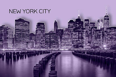 Manhattan Skyline - Graphic Art - Purple Art Print